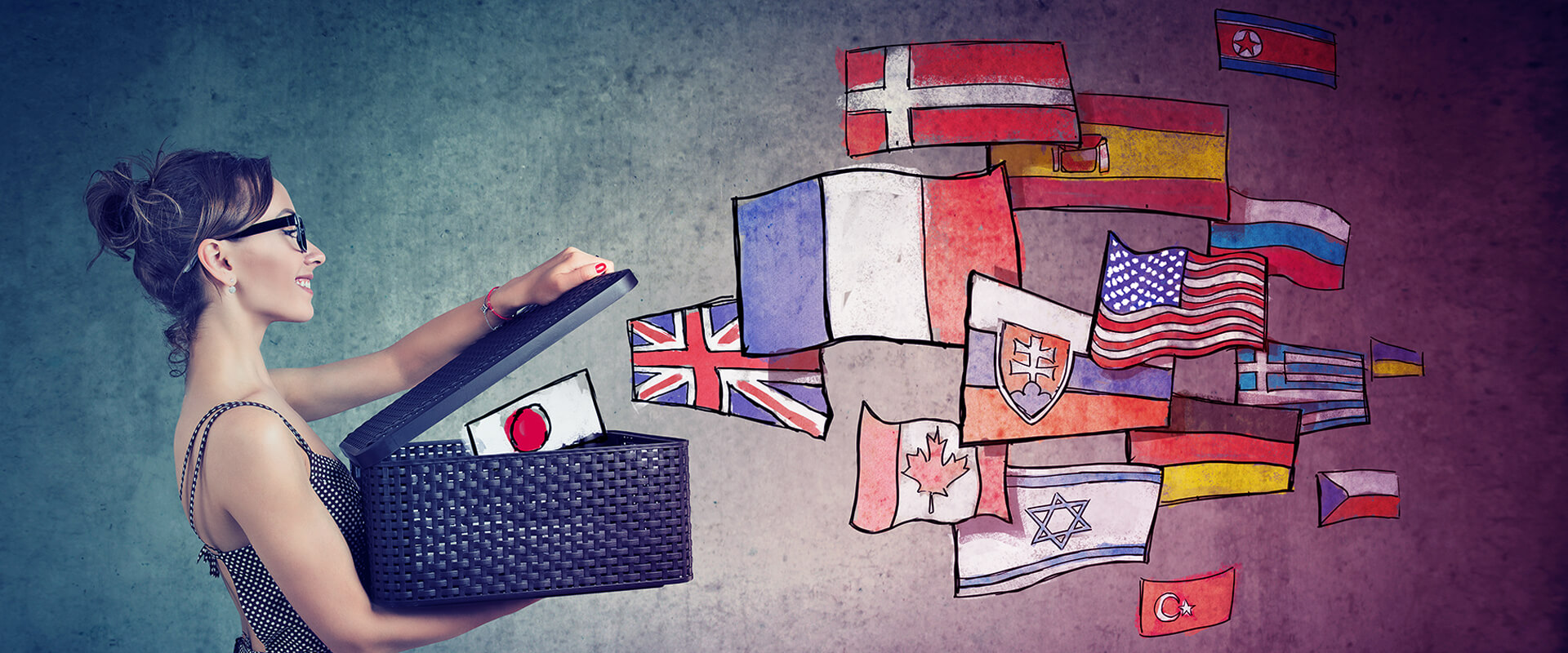 This picture of a woman opening a bag and letting the flags of the world our represents how we are a multicultural agency that cares about diversity and how we create strategies and content aimed to the cultural traits of your audience.